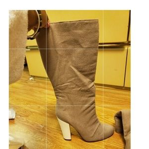 Khaki And White Heeled Boots